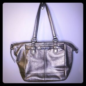 "Coach ""Chelsea"" Gunmetal Metallic Shoulder Bag"